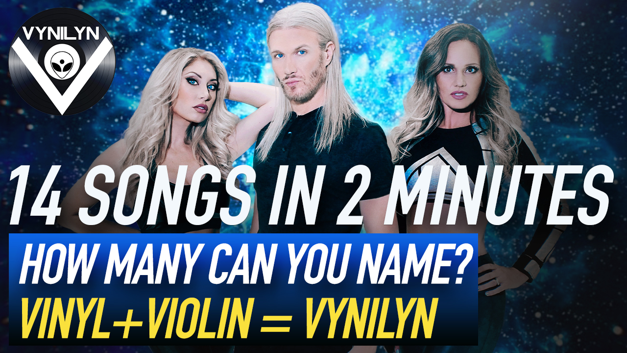dj and 2 violinists with glowing blue background